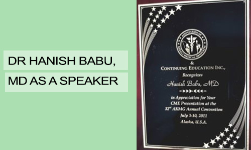 Dr Hanish Babu, MD as a Speaker